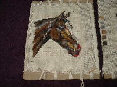 THREE VINTAGE STITCHED TAPESTRIES of HORSE'S HEADS Sewn onto Cardboard