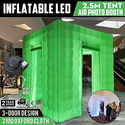 3 Doors Inflatable LED Air Pump Photo Booth Tent Remote Control Proms 7 Colors