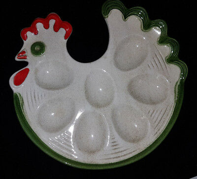 """Waechtersbach Rooster 10"""" Devilled Egg Server. Made in Germany. Super Condition"""