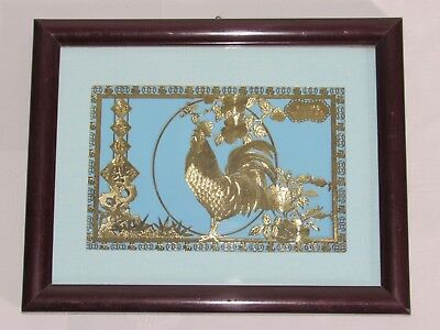 04E1 Pretty Engraving Openwork Rooster Art Chinese Under Frame Golden Sheet Gold