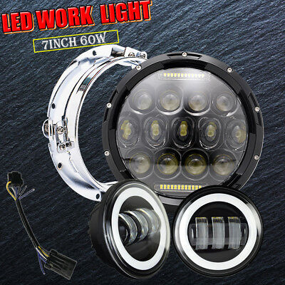 """7"""" LED Projector Daymaker Headlight + Passing Lights For Harley Touring BL"""