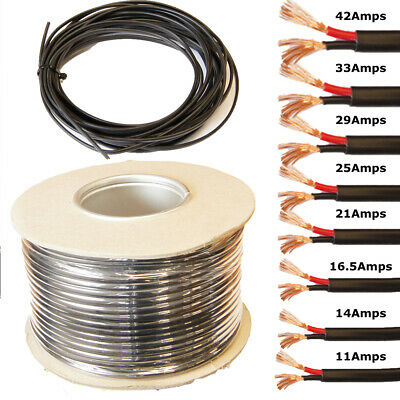 2 Core Flat Twin Cable 12V 24V Thin Wall Wire -11A 14A 16.5A 21A 25A 29A 33A 42A