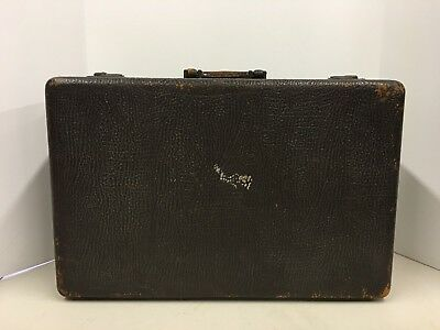 Vintage Antique Real Leather Textured Suitcase with Key Travel Case Locking Lock