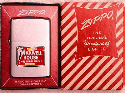 NEW MAXWELL HOUSE WESTERN BLEND COFFEE 2-Sided  nice graphics 1958 Zippo NOS