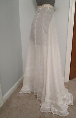 "Antique Edwardian French Val Lace Petticoat Skirt Wide 158"" Sweep Celluloid Lace"