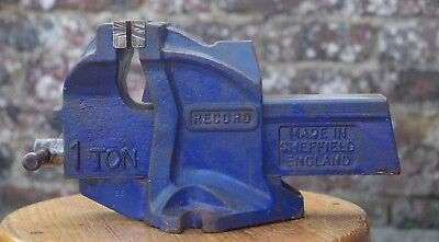 Record 1 Ton-E 4 Inch (100mm)  bench vice with anvil - Made In England
