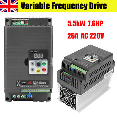 AC 220V Single-phase Variable Frequency Drive VFD for 3-phase 5.5kW 7.6HP 26A UK