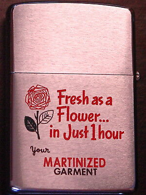 One Hour Dry Cleaning   2-sided  ( color graphics of a ROSE  ) 1971 Zippo MIB