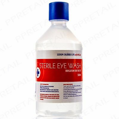 500ml STERILE SALINE Eye Wound Wash Solution Bottle First Aid Eyewash Clean Out