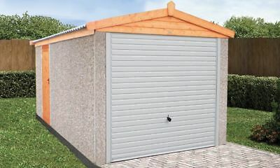 "CONCRETE SECTIONAL GARAGE GARAGES SHEDS  18ft 3"" X 9FT 6"" APEX  ROOF"