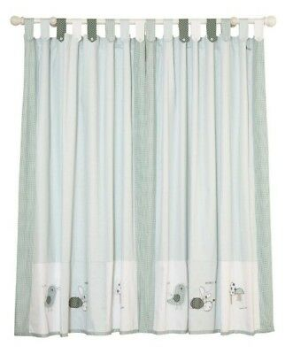Fully lined Mamas and Papas Scrapbook Boys tab top curtains with tie backs