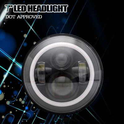 QUAKEWORLD2016 1Pc 7 Inch Round LED Projector Headlight for Motor Harley
