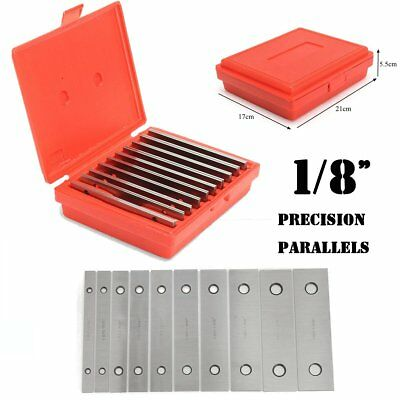 """10 Pair 1/8"""" Precision Steel Parallel Set Parallels .0002"""" Hardened w/ case OK"""