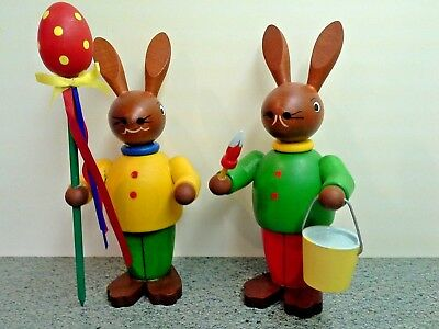 """Pair of Vintage German Stained and Painted WOODEN EASTER BUNNY FIGURES, 6"""""""
