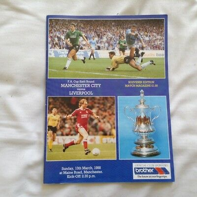 Man City v Liverpool - 1987/88 FA Cup Round 6 Official Programme
