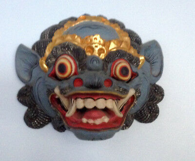 Antique Wood Asian Mask, Vintage Multi Painted Art, fine wall decor panel, 11 in