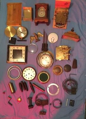 Variety Of Old Clock Parts