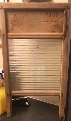 Reclaimed Antique Primitive Atlantic #510 National Washboard Textured Glass