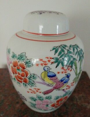 Chinese Fine PorcelainGinger Jar Mapie Brids Flowers & Bamboo H. 6 1/4 inches.