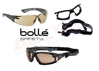 Bolle RUSH + Safety Glasses TWILIGHT Anti-Scratch Anti-Fog Lens Foam + Strap Kit