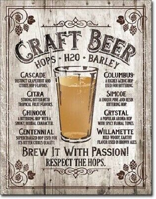 Craft Beer Brew It With A Passion Tin Metal Sign 12x16 in Alcohol Bar Brewery