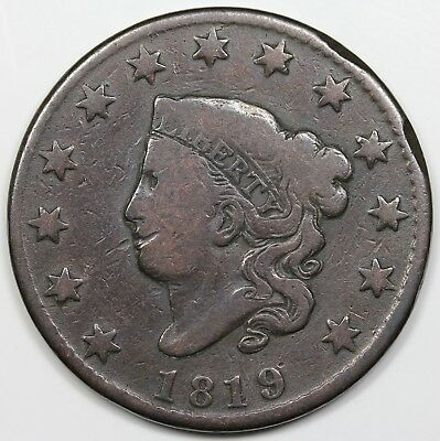 1819 Coronet Head Large Cent, Small Date, VG+