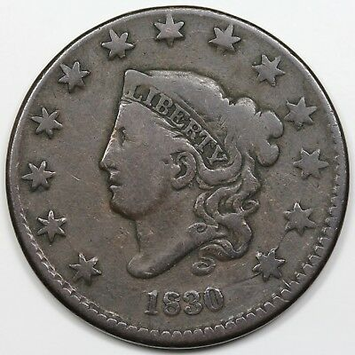 1830 Coronet Head Large Cent, Large Letters, VG