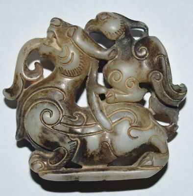 China Old Jade Stone Jewelry HandCarved Hollow Dragon Bird Statue Pendant Amulet