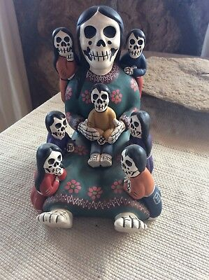 Mexican Folk Art Day of the Dead Story Teller Hand painted Detail