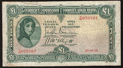 Ireland Currency Commission Irish Free State 1 Pound Note 1928, Good Fine