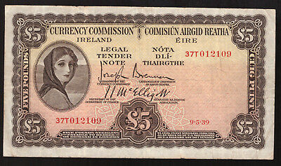 Currency Commission Ireland 5 Pounds 1939. About Very Fine