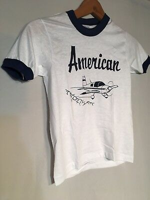 American Plane White Blue Ringer Vintage 80s Children Medium 10-12 T-shirt NEW