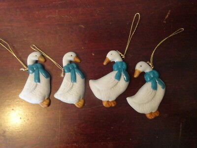 Set of 4 Country Goose Ornaments ,blue bows