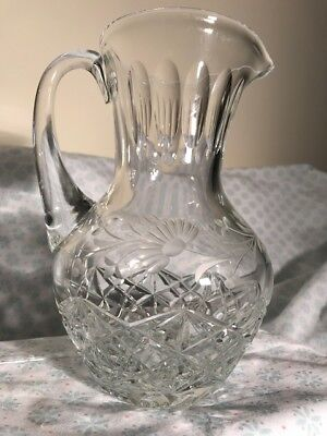 "CUT CRYSTAL PITCHER W/ ETCHED DAISIES W/ STEMS & LEAVES  { 8 3/4"" Tall } (LN)"