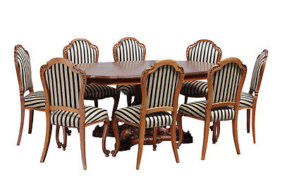 Antique French Dining Set, Table, 8 Dining Chairs, Walnut, Striped Chairs,1930's