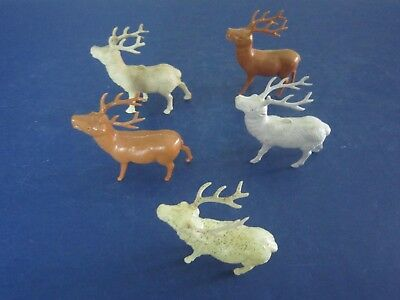 3 Vintage 10 Pt Plastic DEER BUCK STAG FIGURINES $21.99 FREE SHIPPING BUY NOW