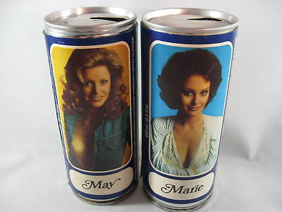 2 different Tennent's Lager cans - May and Marie - 440ml - Paper Labels -C/Steel