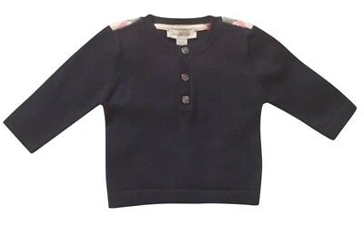 New Burberry Baby Boy Navy Long Sleeve Sweater Jumper Check Shoulder 0 3 Months
