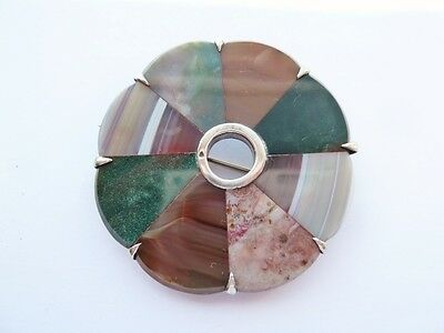 """Antique Scottish Silver & Agate Brooch With Slate Back - Large 2"""" C.1870 - 80"""
