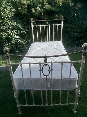 Beautiful Cast Iron And Brass Bed Small Single (in need of repair)