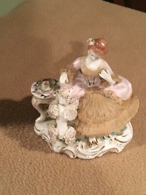 Vintage Victorian Lady Figurine With Spaghetti Poodle Dog / Porcelain /tea Time