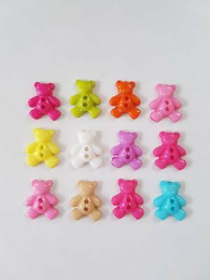 12pcs cute teddy bear novelty buttons crafts sewing baby *Choose your colour*