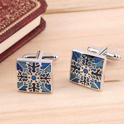 1 Pair Classic Mens Wedding Party Gift Shirt Square Blue Cufflinks Cuff Links TR