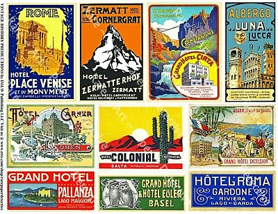 Hotel Luggage Labels, 2 Sticker Sheets, REPRODUCTIONS Labels, Vintage Travel Tag