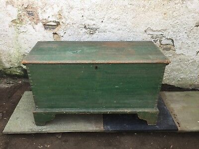 Antique Blanket Box with Old Green Paint
