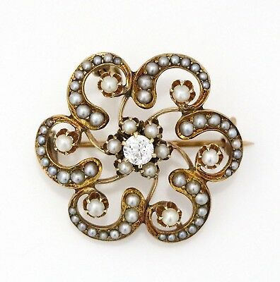 14K Yellow Gold Diamond ~0.35 & Seed Pearl Flower Pin Brooch Pendant No Reserve