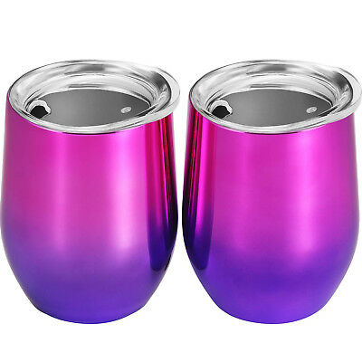 (Purple Color Gradient) - Skylety 350ml Double-insulated Stemless Glass,