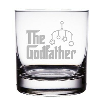The Godfather Baby Gift Engraved 300ml Rock Glass. Mic & Co. Huge Saving