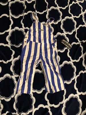 Game Bibs Game Day Jean Overalls Size 2T Denim Navy Blue and White