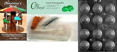 (+50 Bag/Ties/Bk) - Cybrtrayd Golf Balls 3D Chocolate Mould with Chocolatier's